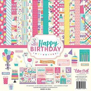 Kit de papéis e adesivos scrapbook Happy Birthday - Aniversário Menina - Echo Park