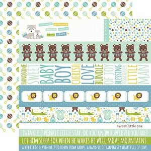 Papel scrapbook Bebê Menino - Sweet Baby Boy - Border Strips - Echo Park