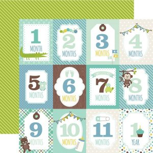Papel scrapbook Bebê Menino - Sweet Baby Boy - Month Cards - Echo Park