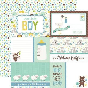 Papel scrapbook Bebê Menino - Sweet Baby Boy - Journaling Cards - Echo Park