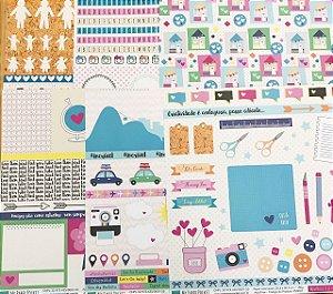 Kit 6 Papéis de scrapbook coleção Memórias Criativas da Fabi Paliares - My Paper Pocket