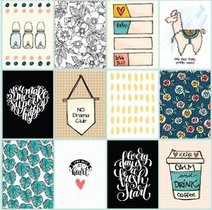 Papel scrapbook 30x30 Cards - Linha Bem Estar- Goodies