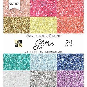 Bloco de papel glitter 15x15  24 folhas - DCWV