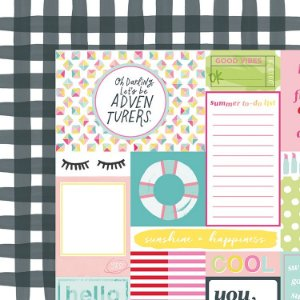 Papel para scrapbook 30x30 - Dupla Face - Happy Place - Top Notch - American Crafts