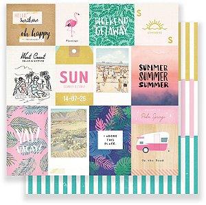 Papel para scrapbook 30x30 - Dupla Face - Oasis - Palm Spring - Crate Paper