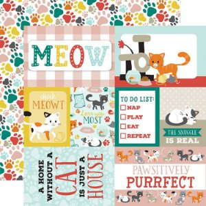 Papel para scrapbook 30x30 - Dupla Face - Journaling Cards - Gatos - Echo Park