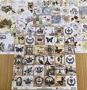 Kit com 3 papéis de scrapbook 30x30 Lançamento Vintage - Arte Fácil