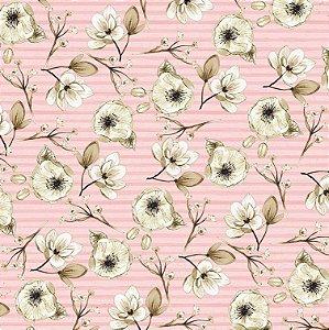 Papel de scrapbook Florescer - Linha Felicidade -Dany Peres