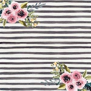 Papel de scrapbook Flores e Listras - Linha Felicidade -Dany Peres