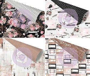 Kit com 4 papéis 30x30 detalhes em Foil , coleção Amelia Rose, da Prima