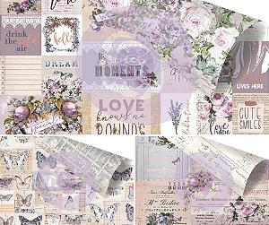 Kit com 3 papéis 30x30 dupla-face, coleção Lavender, Prima
