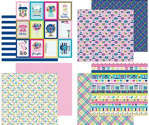 Kit 4 papéis 30x30 dupla-face, coleção Hello, Doodlebug