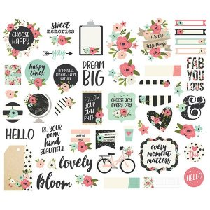 Die cuts Bloom Simple Stories, com 47 peças