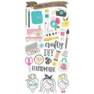 Adesivos chipboard 15x30 Crafty Girl Simple Stories