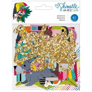 Die cuts Box of Crayons, 40 peças, com glitter, Shimelle, American Crafts