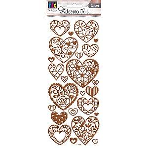 Adesivo Foil II Rose Corações TEC