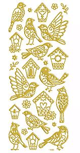Adesivo Foil II Dourado Passarinhos TEC
