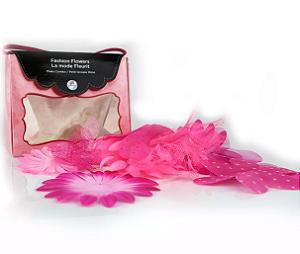 Bolsinha de flores de tecido Rosa com 20 peças Imaginisce