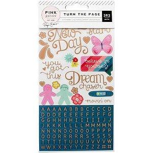 Adesivos com 262 peças com foil Turn the page Paige Evans - Pink Paislee