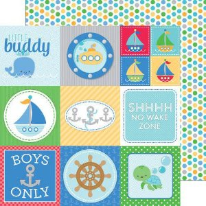 Papel scrapbook 30x30 Doodlebug - Anchors Aweigh- Buoy o buoy