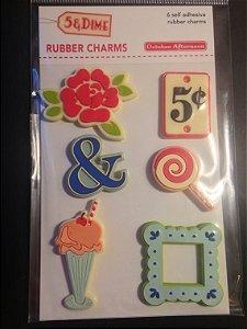Rubber Charms - 5 & Dime - October Aternoon com 06 peças (emborrachados)
