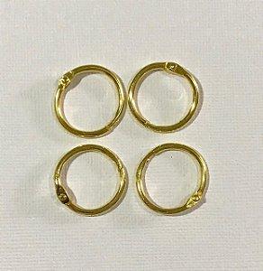 Kit 4 argolas articulada metal douradas - 20mm diâmetro - Importado
