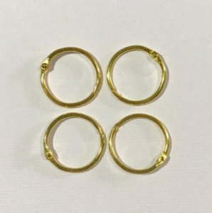 Kit 4 argolas articulada metal douradas - 25mm diâmetro - Importado