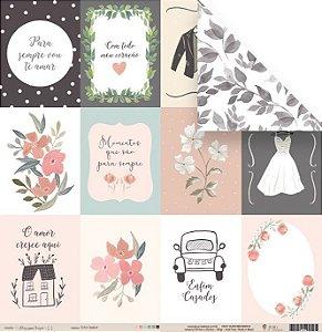 Papel para scrapbook - 30x30 Coleção Felizes para sempre - Enfim Casados - Casamento - Juju Scrapbook