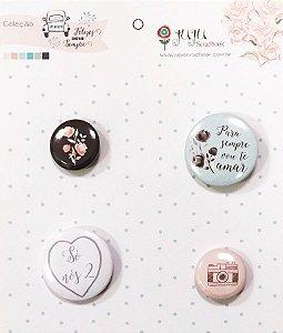 Cartela de bottons Coleção Felizes para sempre - Para sempre - Casamento - Juju Scrapbook