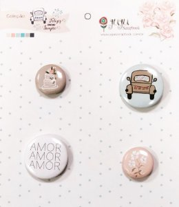 Cartela de bottons Coleção Felizes para sempre - Fusquinha - Casamento - Juju Scrapbook