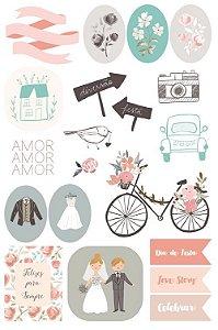 Adesivos Coleção Felizes Para Sempre - Celebrar - Casamento - Juju Scrapbook