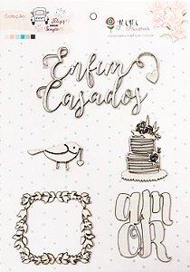Cartela de Enfeites Coleção Felizes para sempre - Enfim Casados - Casamento - Juju Scrapbook