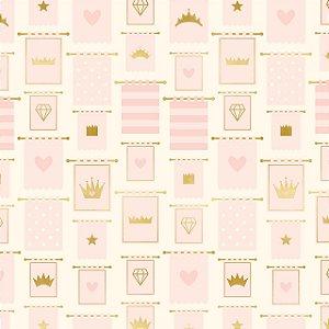 Papel scrapbook 30x30 Penelope (Princesa) - Banners - Foil dourado - My Mind`s Eye