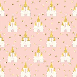 Papel scrapbook 30x30 Penelope (Princesa) - Sparkle - Castelo - com glitter -My Mind`s Eye