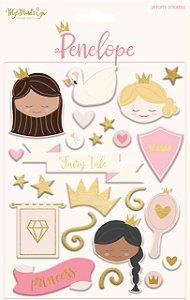Adesivos puffy Penelope (Princesa) - Foil dourado -My Mind`s Eye