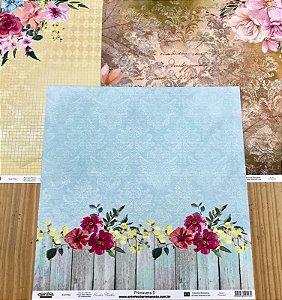 Kit 3 papéis de scrapbook dupla face - 30x30 - Primavera - Arte Fácil