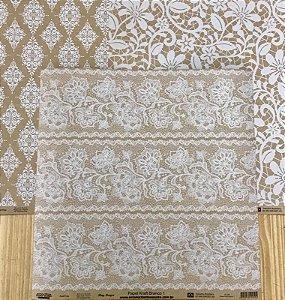 Kit 3 papéis de scrapbook - 30x30 - Coleção Craft  - detalhes em branco -  Arte Fácil