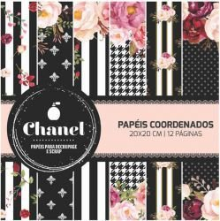 Bloco de papel scrapbook - 20x20 - Dupla Face - Chanel - Arte Fácil