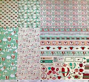 Kit com 06 papeis de scrapbook 30x30 - Dupla Face - Coleção Momentos de Amor - Ivana Madi - TEC