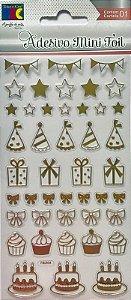 Adesivo Mini Foil Dourado Festa - TEC