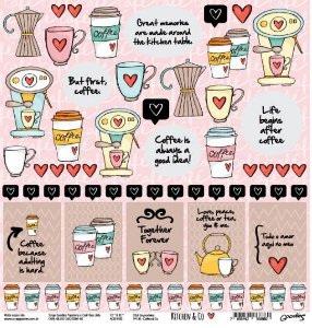 Papel para scrapbook - 30x30 Kitchen & Co - Cozinha - Coffee & Co- Goodies