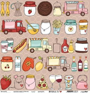 Papel para scrapbook - 30x30 Kitchen & Co - Cozinha - All Together- Goodies