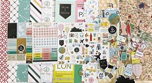 Kit completo Papéis e acessórios Viagem - Travel the World - Studio Baunilha