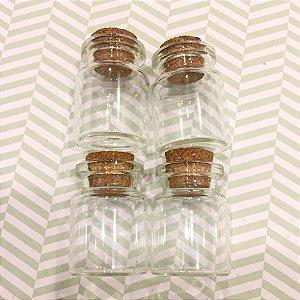 Kit com 04 mini frascos de vidro (vidrinhos) com rolha -  Modelo 2 - Art Montagem