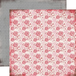 Papel scrapbook 30x30 Valentine Floral - Words of Love - Carta Bella
