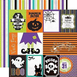 Papel scrapbook 30x30 Ghost Town - Journaling - Halloween - Echo Park