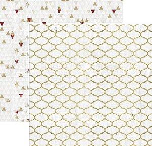 Papel Scrapbook - 30x30 Tinsel and Company com foil dourado - Quatrefoil - Teresa Collins