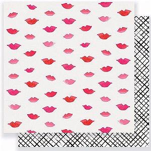 Papel scrapbook 30x30 Heart Day - Pucker up - Crate Paper