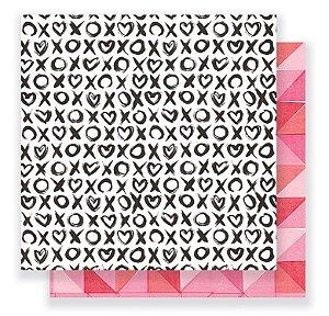 Papel scrapbook 30x30 Heart Day - Hugs & Kisses - Crate Paper