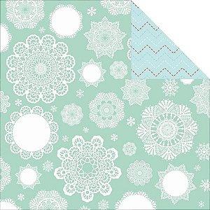 Papel scrapbook 30x30 North Pole - Snowflakes - Kaisercraft